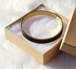 Bracelet bangle or et cuir noir