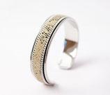 Bracelet jonc argenté 10 mm en cuir python