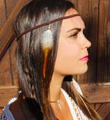 "headband ""squaw"" cuir tressé, plume de coq marron clair et blanc"