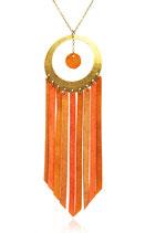 """sautoir """"Nomade"""" cercle laiton et franges de cuir tricolore ( taupe, camel, orangé)"""