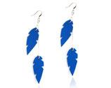 """boucles d'oreilles """"plum's double"""" bleu électrique plaqué argent"""