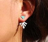 Boucles d'oreilles de lobe triangle devant, feuille triangle derrière