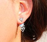 Boucles d'oreilles de lobe triangle devant, triangles ajourés derrière