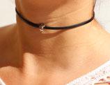 """Ras du cou """"Luna"""" cuir noir 3 mm, perle lune argent"""