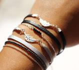 """bracelet """"WIYAKE"""" multitours en cuir argenté, plume argent"""