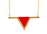 """collier """"aztèque"""" rouge vermillon doré à l'or fin 24K"""