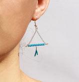 Boucles d'oreille Anahuac, triangle, cristaux de verre Turquoise, cuir Turquoise
