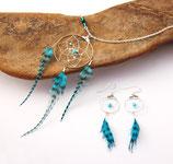 """boucles d'oreille """"IKTOMI MINI"""", attrape-rêve, plumes bleu turquoise"""