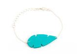 """bracelet """"Plum's"""", plume de cuir Turquoise, plaqué argent"""