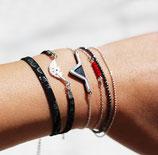 """bracelet """"aztèque"""" - triangle géométrique plaqué argent - cuir de veau véritable Noir"""