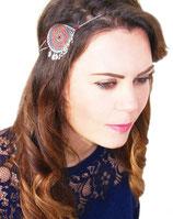 """Headband """"Aurore"""" rouge et orange avec pampilles, plaqué argent"""
