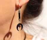 """Boucles d'oreille """"Nokomis"""" cuir noir, corne noire, oeil de tigre"""