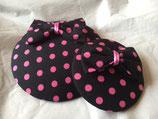 Fascinator Polkadots pink auf schwarzem Grund in groß und klein