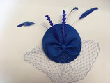 Fascinator royal blau, Schleife, Schleier, Federn