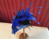 royalblauer Fascinator Sinamay, Teardrop, Federnkaskade blau und schwarz