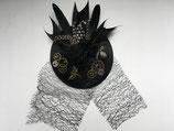 Steampunk Headpiece mit Federn, Zahnrädern und Libellen