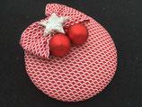 Weihnachts Fascinator rot-weiß, Schleife, rote Kugeln, Stern