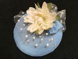 Fascinator hellblau Taft mit Schleife, Tüll, Seerose