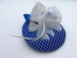 Fascinator royalblau mit Schleife und ivory Netz und Federrosette