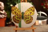 Schmetterling gelb/grüner auf Fascinator, Basis natur Leinen, mit Grashalmen