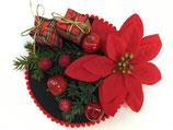 Weihnachts Fascinator schwarz mit rotem Bommelrand, Weihnachtsstern, Päckchen