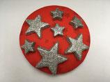 Fascinator rot mit silbernen Sterne