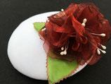 Fascinator weiß, rote Organzablüten