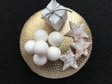 Winter Fascinator gold-weiß, Schneebälle, Sterne, Geschenk