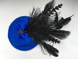 royal blauer Fascinator, Schleife, üppige Federn