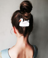 Mystery white Swan Hair Clip