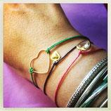 braccialettiin ottone con cordino colorato a scelta