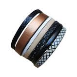 Bracelet manchette en cuir JOA brun et beige- ref202019
