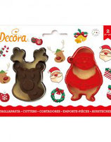 DECORA KERSTMAN & RENDIER UITSTEKERS SET 2