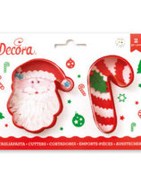 DECORA KERSTMAN & CANDY CANE UITSTEKERS SET 2
