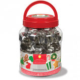 WILTON COOKIE CUTTER TUB CHRISTMAS SET/40