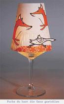 """Lämpchen auf Weinglas """"Fuchs Du hast die Gans gestohlen"""""""