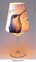 """Lämpchen auf Weinglas """"Saphirkolibri"""""""