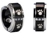 Magneet Oorbellen zwart met hondenpootjes
