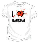 Handball I love weiß/schwarz/rot