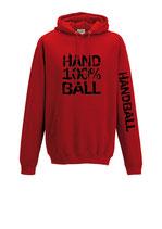 Handball Kapuze 100 % rot/schwarz