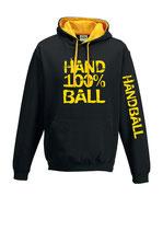Handball Kontrast-Kapuze 100 % schwarz/goldgelb
