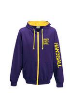 Handball Kontrast-Kapuzenjacke 100 % purple/gelb