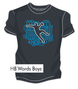 T-Shirt HB Words Men + dunkelgrau/neonblau/weiß