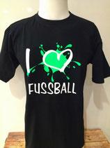 I love Fußball Splash schwarz/neongrün