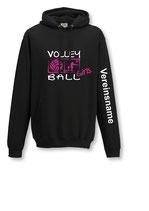 Kapuze Volleyball Girls schwarz/weiß/neonpink