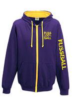 Fußball Kontrast-Kapuzenjacke 100 % purple/gelb