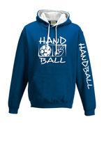 Handball Kontrast-Kapuze Victory royalblau/weiß