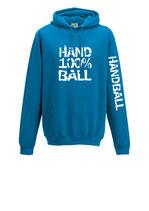 Handball Kapuze 100 % türkis/weiß