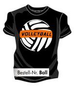 T-Shirt VolleyBALL schwarz/weiß/neonorange
