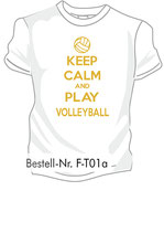 Volleyball Keep calm weiß/gold